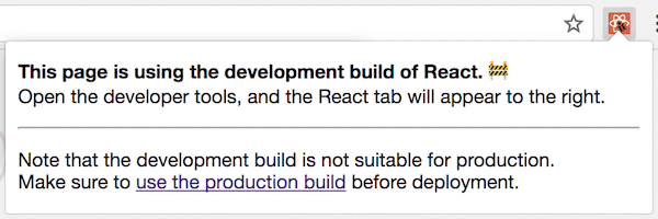 React DevTools icon on a website with production version of React