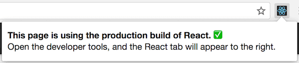 React DevTools icon on a website with production version of React.