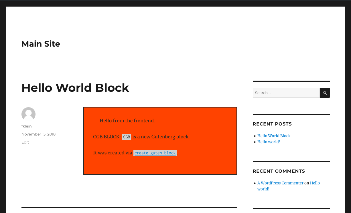 The front end view of the Hello World block.