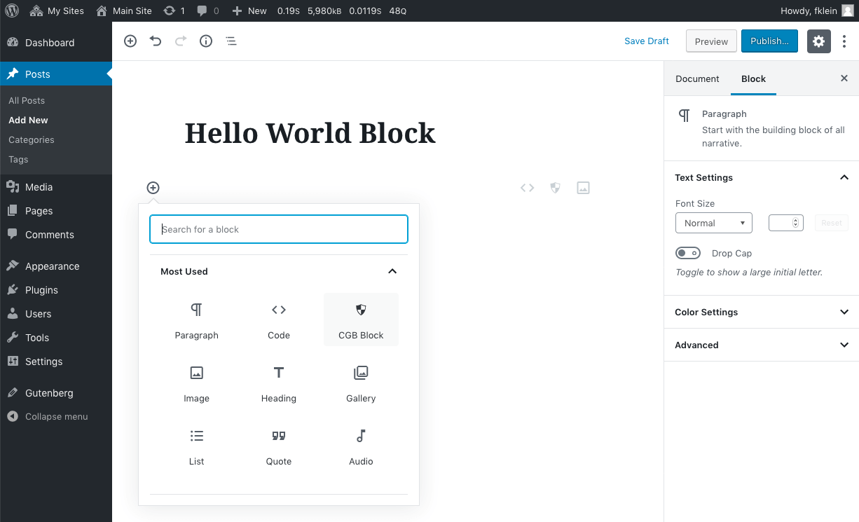 A view of the block inserter, showing our newly created Hello World block.