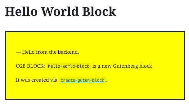 A view of the modified Hello Word block in the editor.