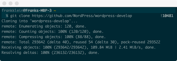 Cloning the WordPress Develop Git repository to local.