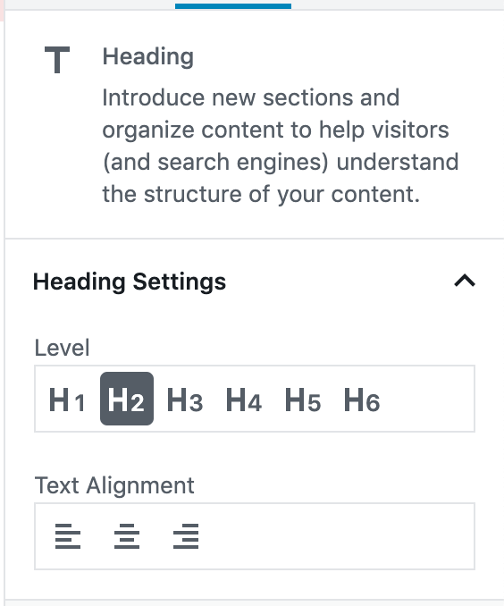 Screenshot of the heading block settings.