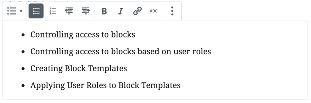 The Gutenberg list block edit view.