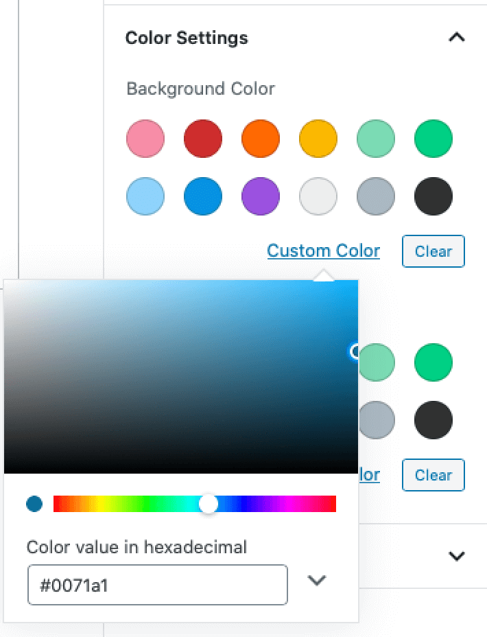The colour picker in the Gutenberg Colour Settings panel.