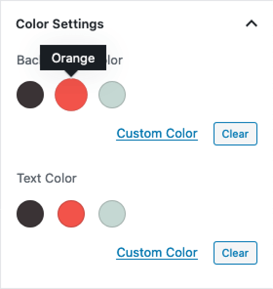 The Gutenberg colour settings panel with a custom colour palette.