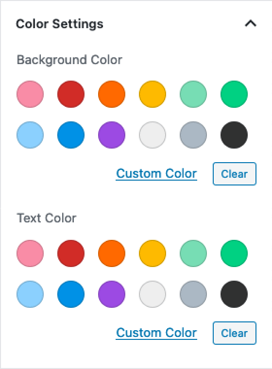 The Gutenberg colour settings panel with all available options.