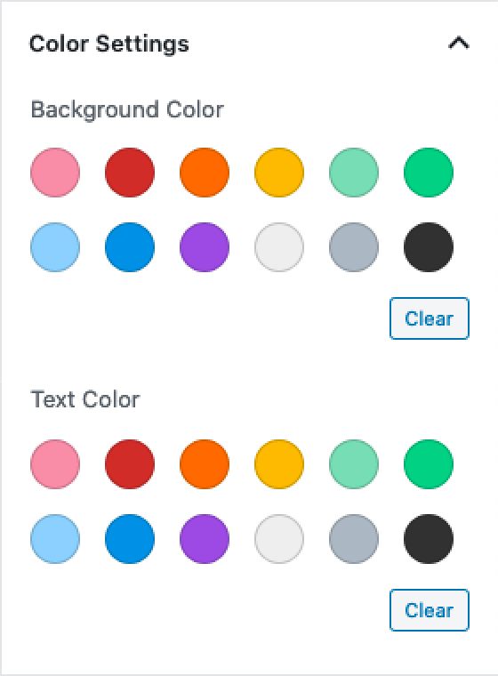 The Gutenberg colour settings panel with the colour picker disabled.