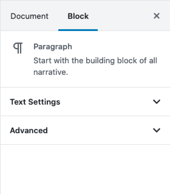 The Gutenberg paragraph block settings after having disabled the colour settings.