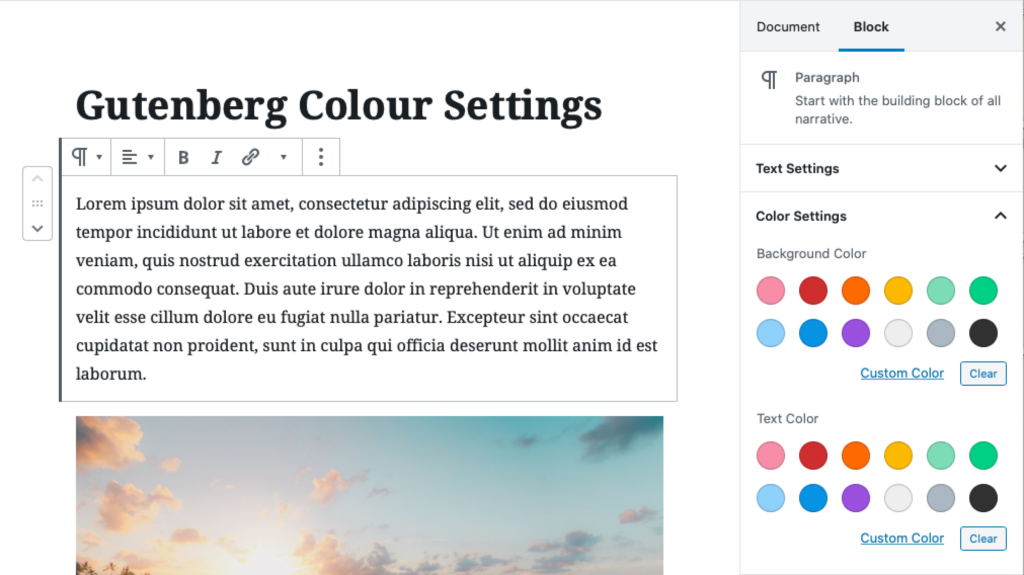 A screenshot of the Colour Settings panel for a paragraph block in the Gutenberg Block Editor.